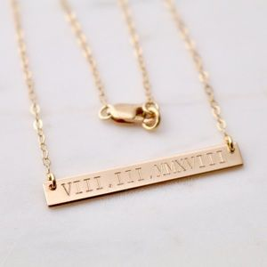 14kGoldFill Custom Engraved Roman Numeral Necklace